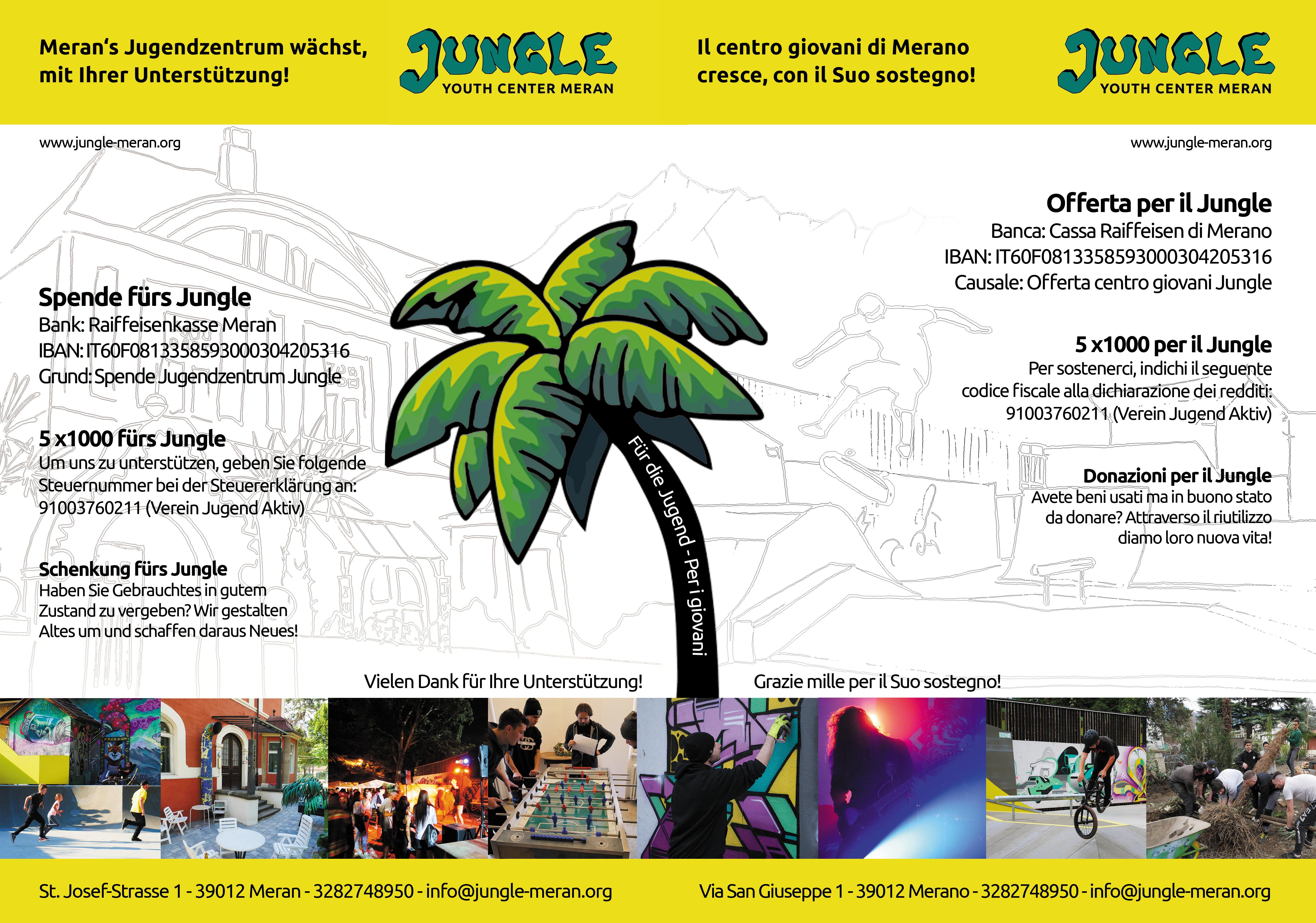 Spenden fürs Jungle - Offerta per il Jungle - Jugendzentrum Jungle Meran - Centro giovani Jungle Merano